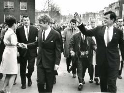 Attorney General Robert F. Kennedy walks with his brother Edward M. Kennedy.