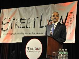 Attorney General Holder announcing the launching of the Department's Access to Justice Initiative.