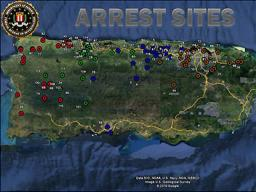 Photo from the FBI website showing arrest sites across Puerto Rico