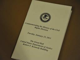 Event program from the January 25, 2011 commemoration of the history and legacy of the Civil Rights Division hosted by the Department of Justice.