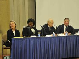 Panel members participated in a lively and relevant discussion. From left to right are: the Honorable Linda Kay Davis, former Section Chief for the Criminal Section of the Civil Rights Division; Loretta King, Deputy Assistant Attorney General for the Civil Rights Division; James P. Turner, former Acting Assistant Attorney General for the Civil Rights Division; and John Wodatch, Section Chief of the Disability Rights Section of the Civil Rights Division.
