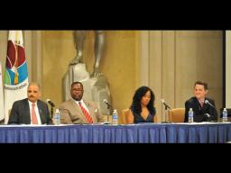 "Attorney General Eric Holder and actors Jim True-Frost (""Prez""), Wendell Pierce (""Bunk"") and Sonja Sohn (""Kima"") from the HBO hit series, The Wire, take part in the drug endangered children panel."