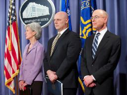 HHS Sec. Sebelius, FBI Exec Asst Director Henry and HHS IG Levinson joined AG Holder in announcing heath care fraud