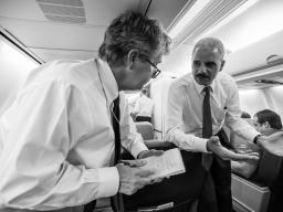 AG Eric Holder speaks to USA Today justice correspondent Kevin Johnson on the flight back to Washington, D.C.