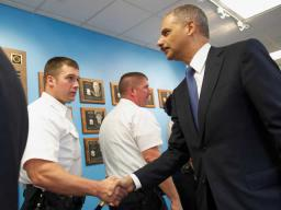 Attorney General Holder meets members of the Cincinatti Police Department.