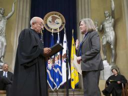 Virginia Seitz is sworn in as Assistant Attorney General for the Office of Legal Council by Judge Edwards.