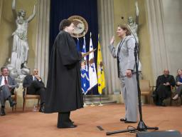 Lisa Monaco is sworn in as Assistant Attorney General for National Security by Justice Kagan.