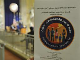 Program with the backdrop of Great Hall – the location for the 2011 Stalking Awareness Event sponsored by the Office on Violence Against Women.