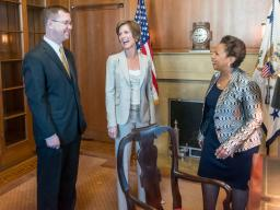 Attorney General Lynch meets with Acting Deputy Attorney General Sally Yates and Acting Associate Attorney General Stuart Dele