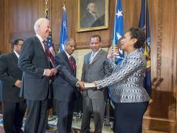Attorney General Lynch is sworn in by Vice President Joe Biden.