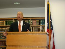 DHS Secretary Jeh Johnson addresses the Office