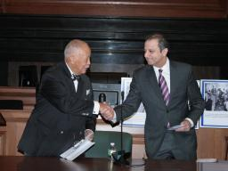 Mayor David Dinkins with U.S. Attorney Preet Bharara