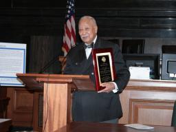 Mayor David Dinkins after receiving plaque