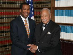 Mayor David Dinkins with Assistant U.S. Attorney Martin Bell