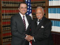 Mayor David Dinkins with U.S. Attorney Preet Bharara
