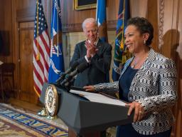 Attorney General Lynch addresses family, close friends and DOJ staff after being sworn in by Vice President Biden.