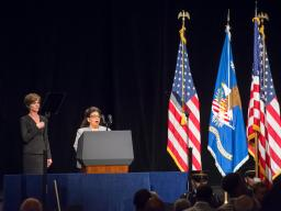 Ms. Shawnee Ball sings the National Anthem at Attorney General Lynch's investiture ceremony.