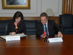 AAG Christine Varney & Felipe Irarrazabal, Chile's National Economic Prosecutor, sign an antitrust cooperation agreement