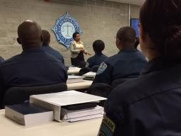 Attorney General Lynch thanks the new cadets and local officers for their dedication
