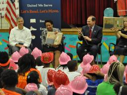 """Let's Read! Let's Move!"" event at Seaton Elementary in Washington, DC."