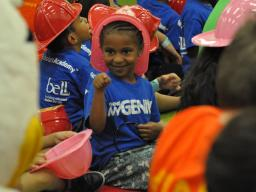 A Seaton Elementary student at the Let's Read! Let's Move! event.