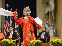 The Washington Qinqiang Opera Club member Fang Wang sings and dances to Husband from the Colored Balcony.