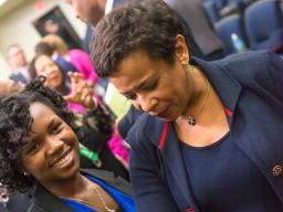 Attorney General Lynch and Erica Lofton. Ms. Lofton is the 14-year-old founder of Girls in Action, Inc., an organization that