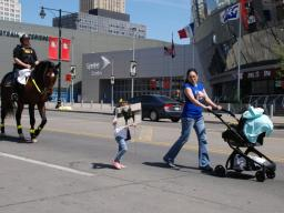 The KCPD Mounted Patrol led a memorial walk with the K.C. area-wide chapter of Parents of Murdered Children & Ohter Survivors of