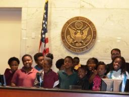 U.S. Magistrate Judge Porcelli and Lockhart Magnet Students