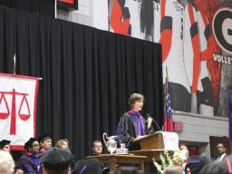 Deputy Attorney General Sally Q. Yates speaking at the University of Georgia School of Law.