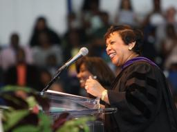 Attorney General Loretta E. Lynch speaking at the hooding ceremony at Howard University School of Law.