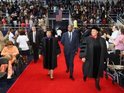 Attorney General Loretta E. Lynch in attendance at the hooding ceremony at Howard University School of Law.