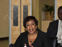 Attorney General Loretta E. Lynch speaks at roundtable discussion with Alaska Native youth
