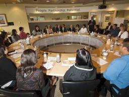 Attorney General Loretta E. Lynch listens to Alaska Native youth during a roundtable discussion