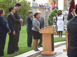Attorney General Lynch led a moment of silence at the Department as part of a commemoration ceremony with Department of Justic