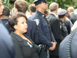 Attorney General Loretta E. Lynch at the 15th anniversary ceremony at the National September 11 Memorial Plaza