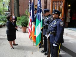 Attorney General Loretta E. Lynch talks with members of the New York Police Department at the First Presbyterian Church of Bro