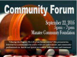 Flyer for Manatee County Community Forum