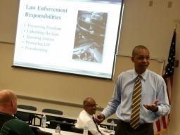 Discussing Law Enforcement Responsibilites with the audience.