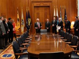 Attorney General Sessions meets with his staff and department leadership.