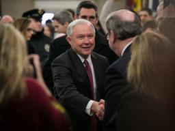After taking his oath of office, Attorney General Sessions greets employees as he arrives at the Department of Justice.