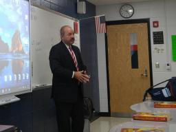 AUSA Todd Bradbury makes presentation to students at Madison Southern High School.