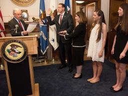Attorney General Jeff Sessions administers the oath of office to Rod J. Rosenstein to be the Deputy Attorney General of the Unit