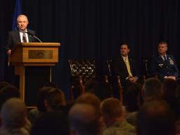 Attorney General Sessions speaks to the 56th Fighter Wing  at Luke Air Force Base about the Department of Justice's Servicemem