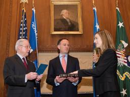 Attorney General Jeff Sessions administers the oath of office to Rachel L. Brand to be the Associate Attorney General of the Uni