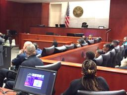 AUSA Hale explains the layout of the courtroom