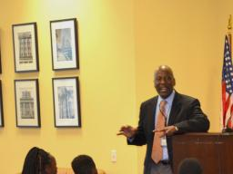 Outreach specialist Joe Smith welcomes students