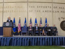 FBI Deputy Director Andrew McCabe delivers remarks.