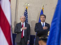From left: Attorney General Jeff Sessions and FBI Director Christopher Wray
