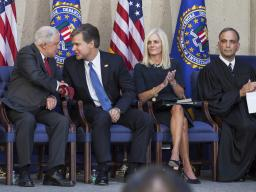 From left: Attorney General Jeff Sessions; FBI Director Christopher Wray and his wife, Helen Wray; and U.S. District Court Judge Joseph Bianco